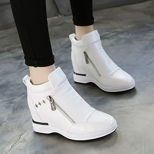 PU High Heel Boots Womens Shoes White Fashion 2020 New Spring Ankle Boots For Women Shoes Zipper Ladies Booties Platform