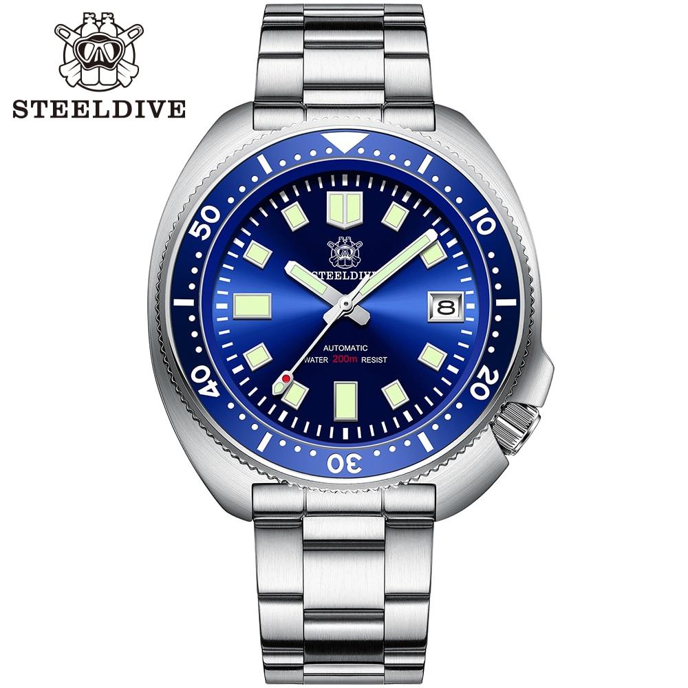 Steelالغوص SD1970 أذن البحر الغوص ساعة 200 متر الياقوت الكريستال التقويم NH35 التلقائي الميكانيكية الصلب الغوص ساعة رجالي