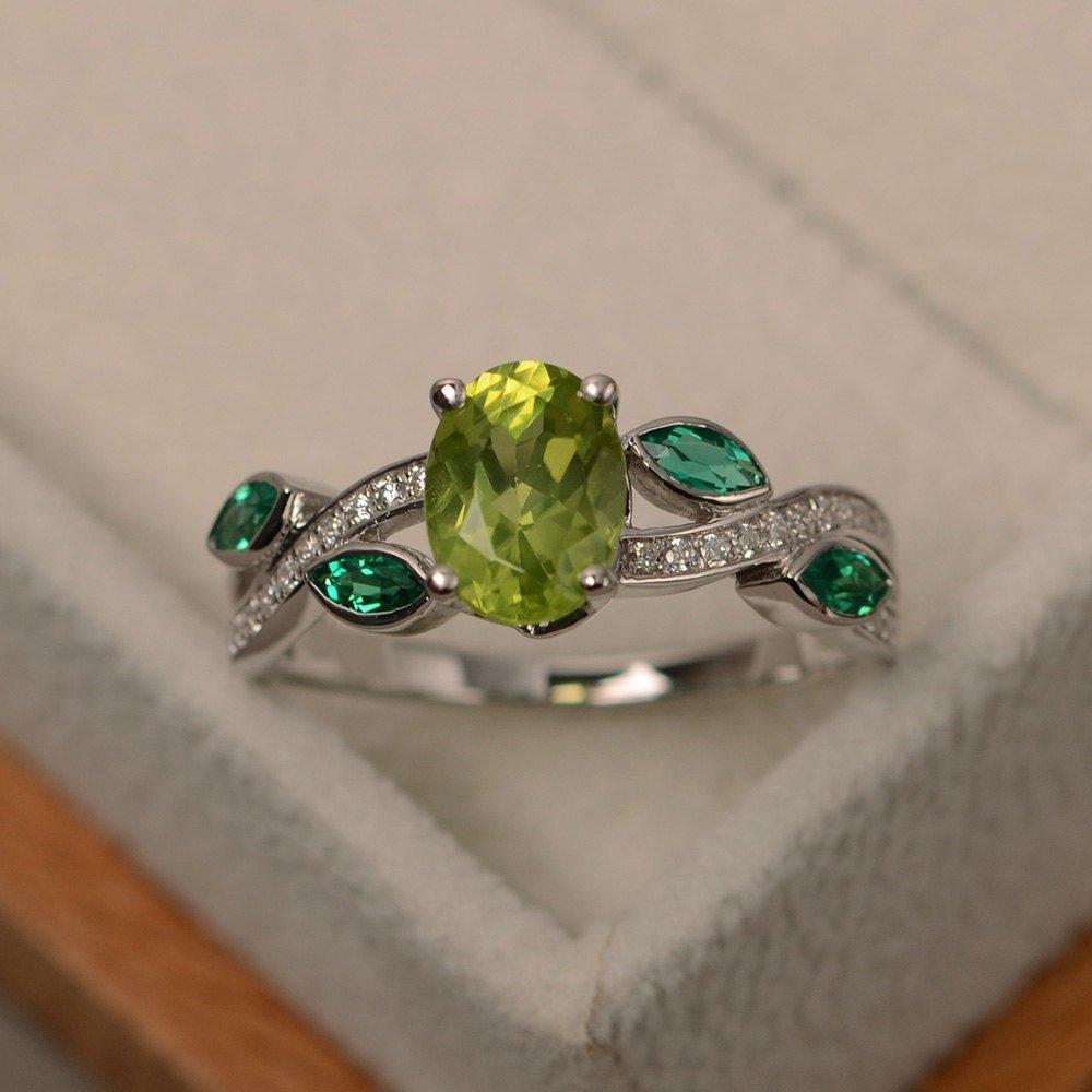 De circón Simple peridoto óvalo anillo femenino pequeño fresco S925 de plata esterlina vid encaje exquisito damas elegante anillo dulce