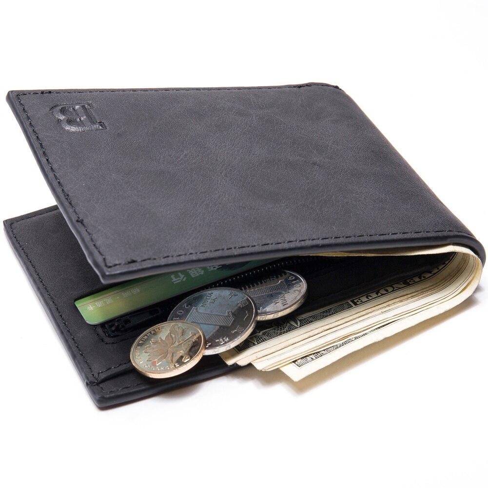 1 Pcs Fashion Mini Men's Luxury Business Wallet Card Holder Man Purse Coin Bag Zipper Gift For Men Portomonee