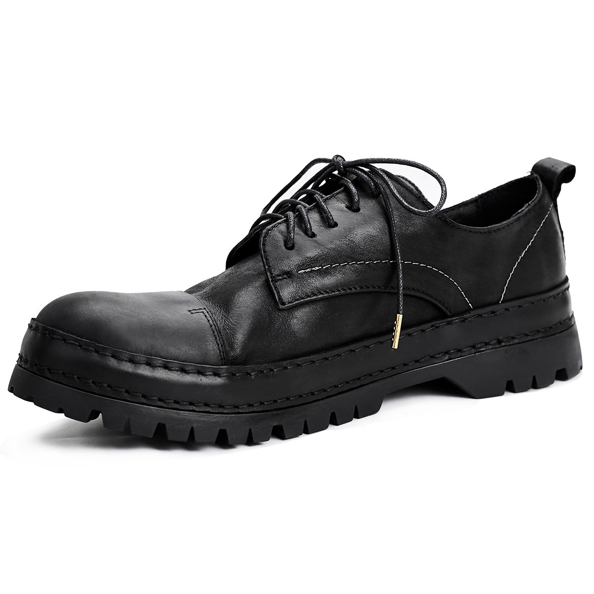 retro reflective harajuku muffin shoes female british college round toe lace up casual shoes leisure all match platform shoes New Spring Summer AutumnSoft Soled British Business Casual Shoes Mens All-match Cowhide Lace-Up Men Dress Shoes British Retro