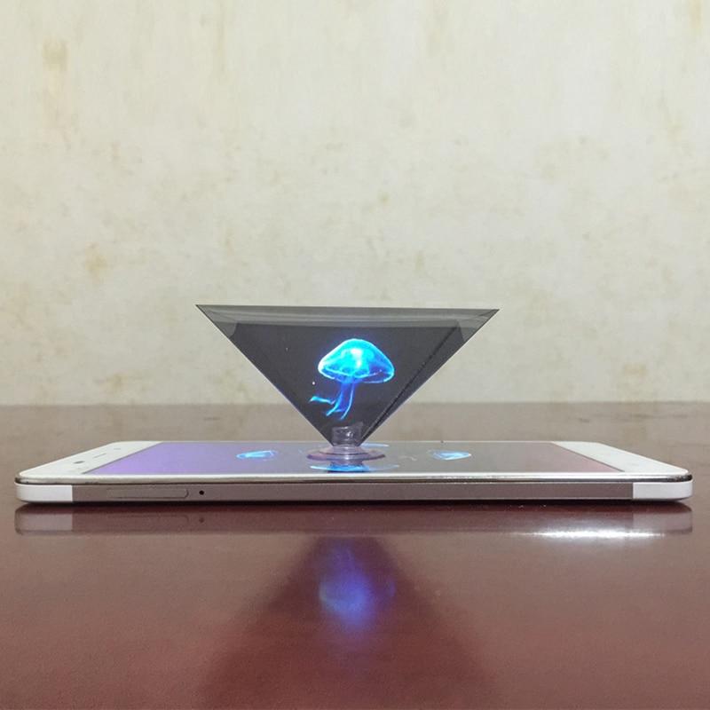 1 unidad Mini 3D holograma pirámide pantalla Video proyector soporte holográfico marco pirámide por teléfono móvil Smartphone pantalla holográfica