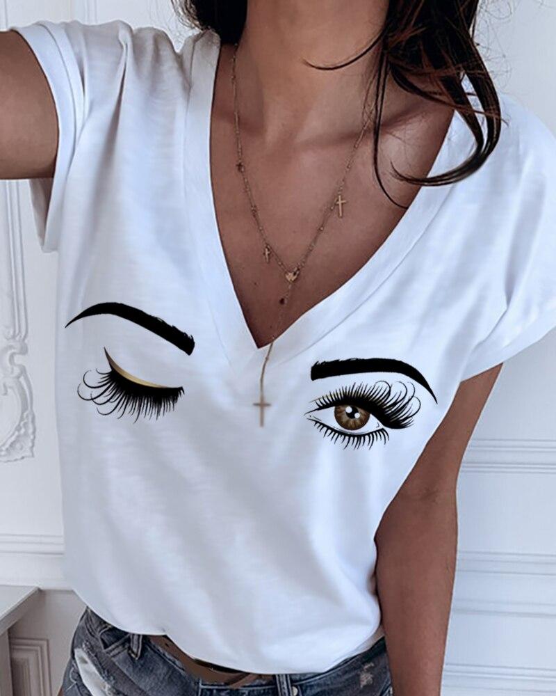 2020 Summer New Women Fashion Casual V Neck Tshirts Summer Top Tee Tops Tee-Shirts Eyes Print Short Sleeve T-shirt
