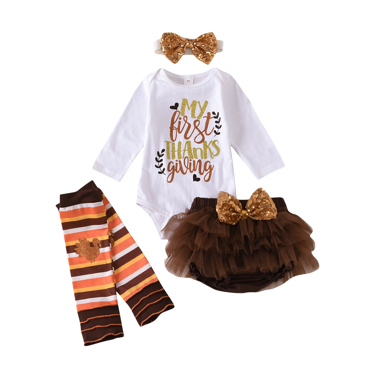 Newborn Baby Girl My First Thanksgiving Outfit Letter Print Romper+Shorts+Leg Warmers+Headband Set Fashion 4-piece Outfit Set