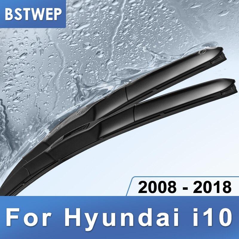 BSTWEP híbrido limpiaparabrisas para Hyundai i10 ajuste gancho armas 2008, 2009, 2010, 2011, 2012, 2013, 2014, 2015, 2016, 2017, 2018