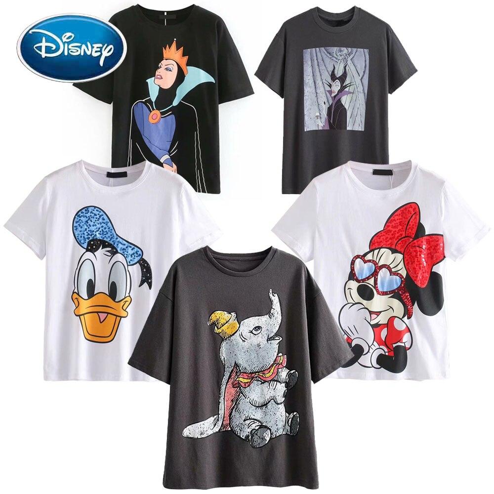 Футболка с коротким рукавом для женщин, футболка с принтом героев мультфильмов, Микки и Минни Маус