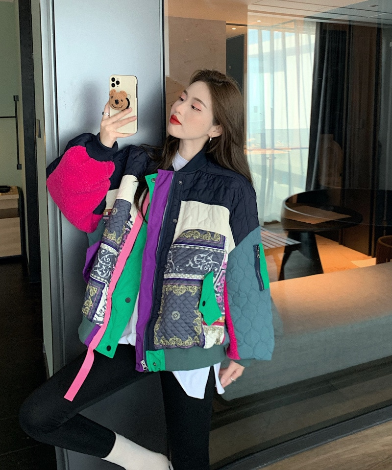2020 New Colorful Streetwear  New winter down jacket women's fashion Hip hop loose splice color matching all-match coat
