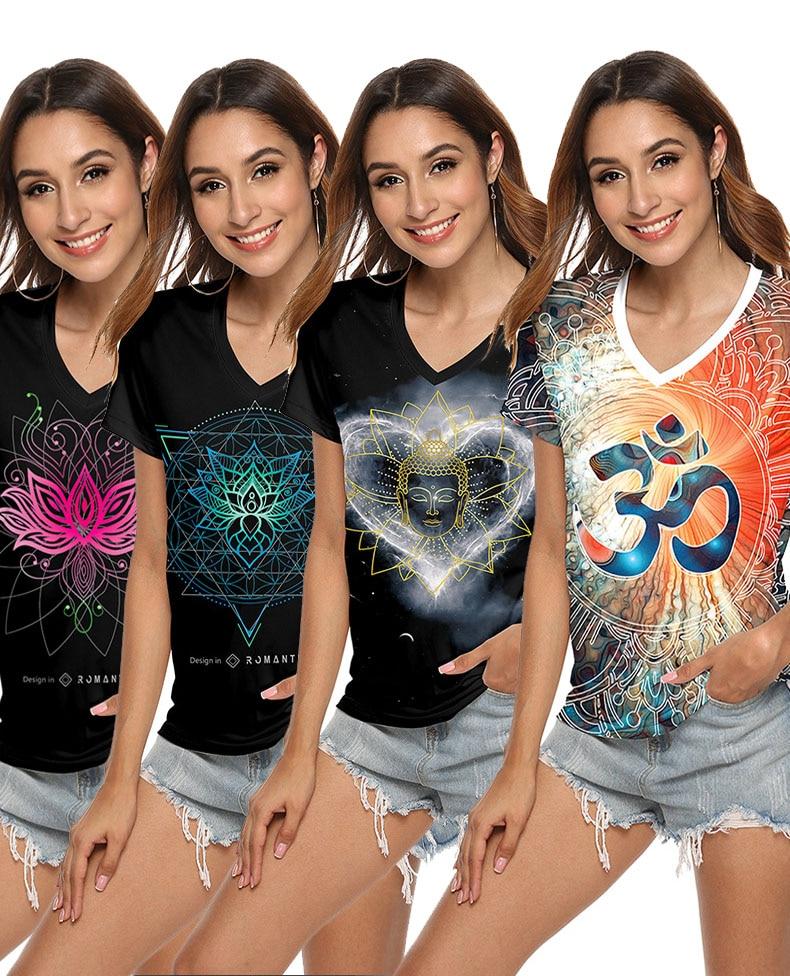 Jigerjoger camiseta oragen teal azul om, ombré, de buda, estampa de mandala, lotus, preta, hippy, feminina camisetas camisetas