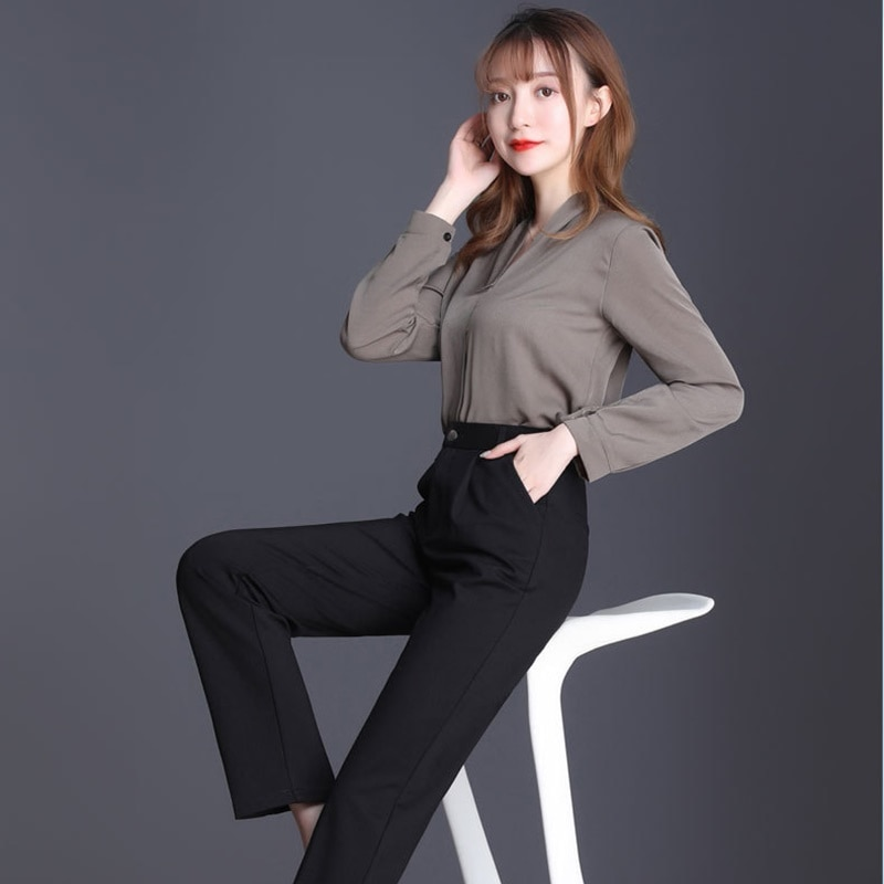 Women Plus Size 100Kg Casual Straight Pants Black High Waist Fashion Trousers Ol Office Lady Trouser