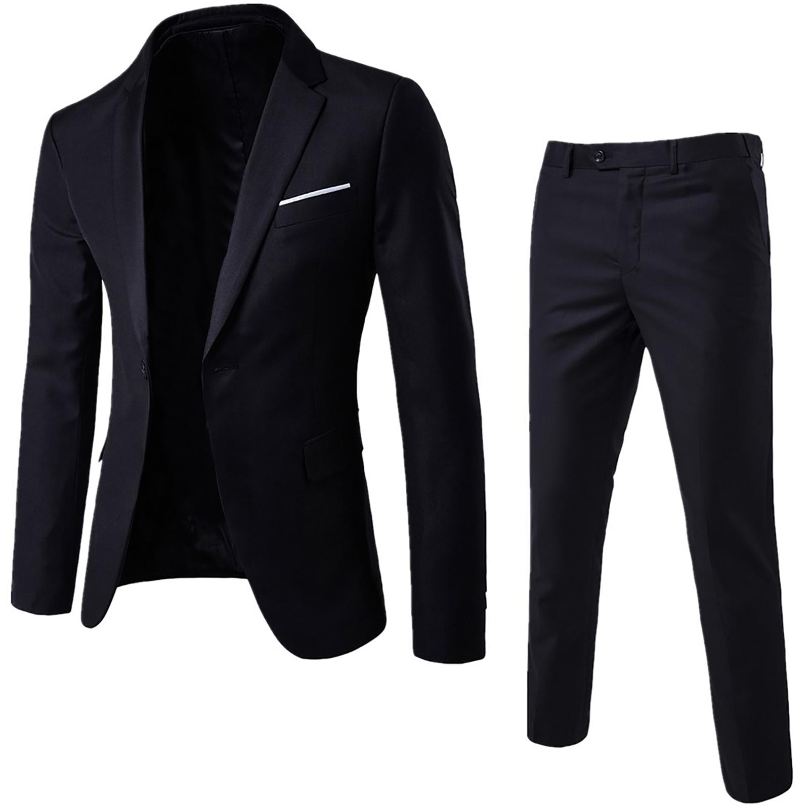 2020 Black Men's Suit 2 Pieces Plus Size Men Solid Color Long Sleeve Lapel Slim Button Business Suit For Wedding(Blazer+Pants)