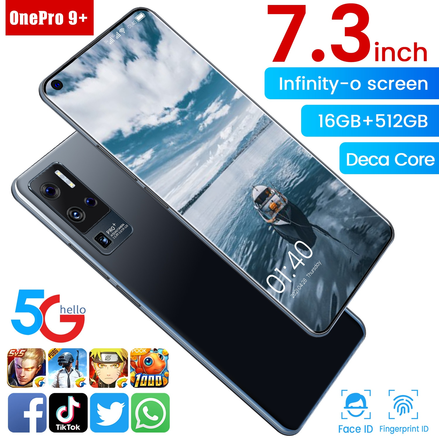 Global OnePro 9+ 7.3Inch Smartphone Android11 16GB RAM512GB ROM 6800mAh Snapdragon 888 Deca Core CPU