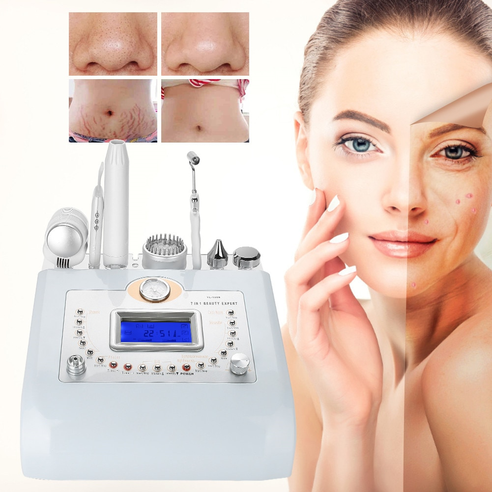 7 In 1 Micro-Carved Diamond Microdermabrasion Ultrasonic Blackhead Anti-Aging High-Frequency Electric Therapy Beauty Instruments