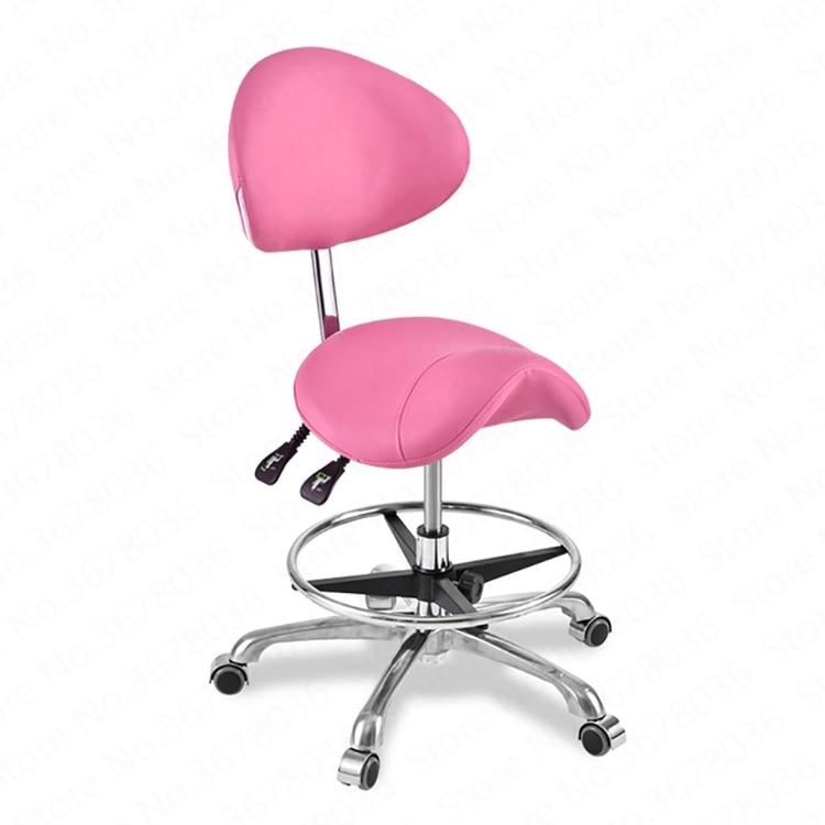 سهلة الاستخدام الخلفي دعم السرج كرسي بولي Leather الجلود طبيب الأسنان كرسي سبا المتداول البراز صالون الأسنان سبا الجمال رفع كرسي
