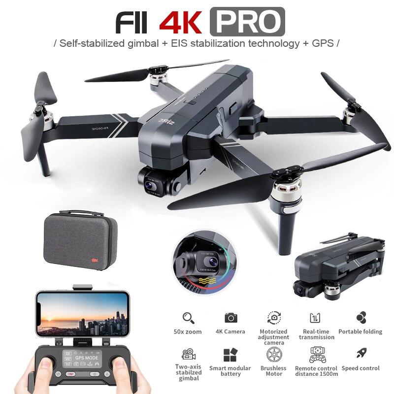 Sjrc-drone f11 4k pro, quadricóptero dobrável com wifi, 2 eixos, dobrável, sem escova, wi-fi, 1.2km, fpv, gps, 4k, hd, rtf, vs, sg906 max