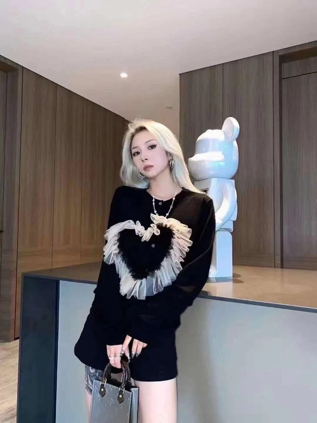 2021 new three-dimensional love mesh Ruffle stitched knitted cardigan knit shirt(including 60% wool) enlarge
