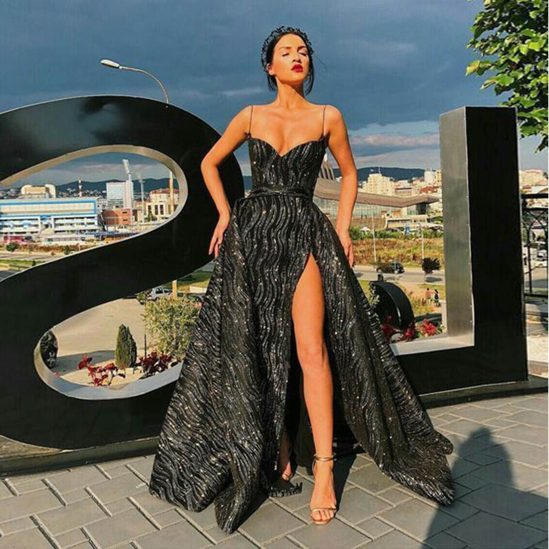 Women Fashion Ladies Deep V Neck Stylish Sprinkling Gold Sexy Sleeveless Leg Slit Strap Dress Evening Gown Party Holiday Wear