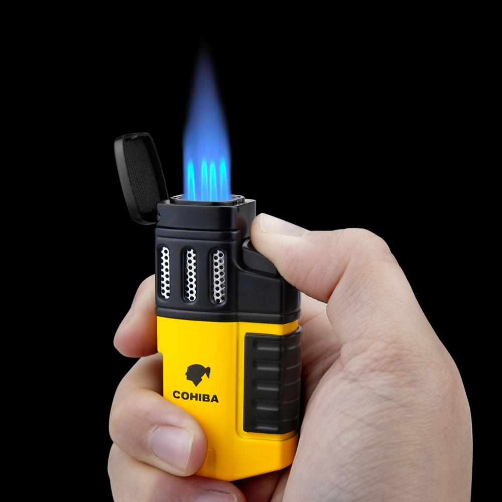 Cohiba Cigar Torch Lighter 4 Torch Jet Flame Refillable with Punch Smoking Accessories Tool for Smok