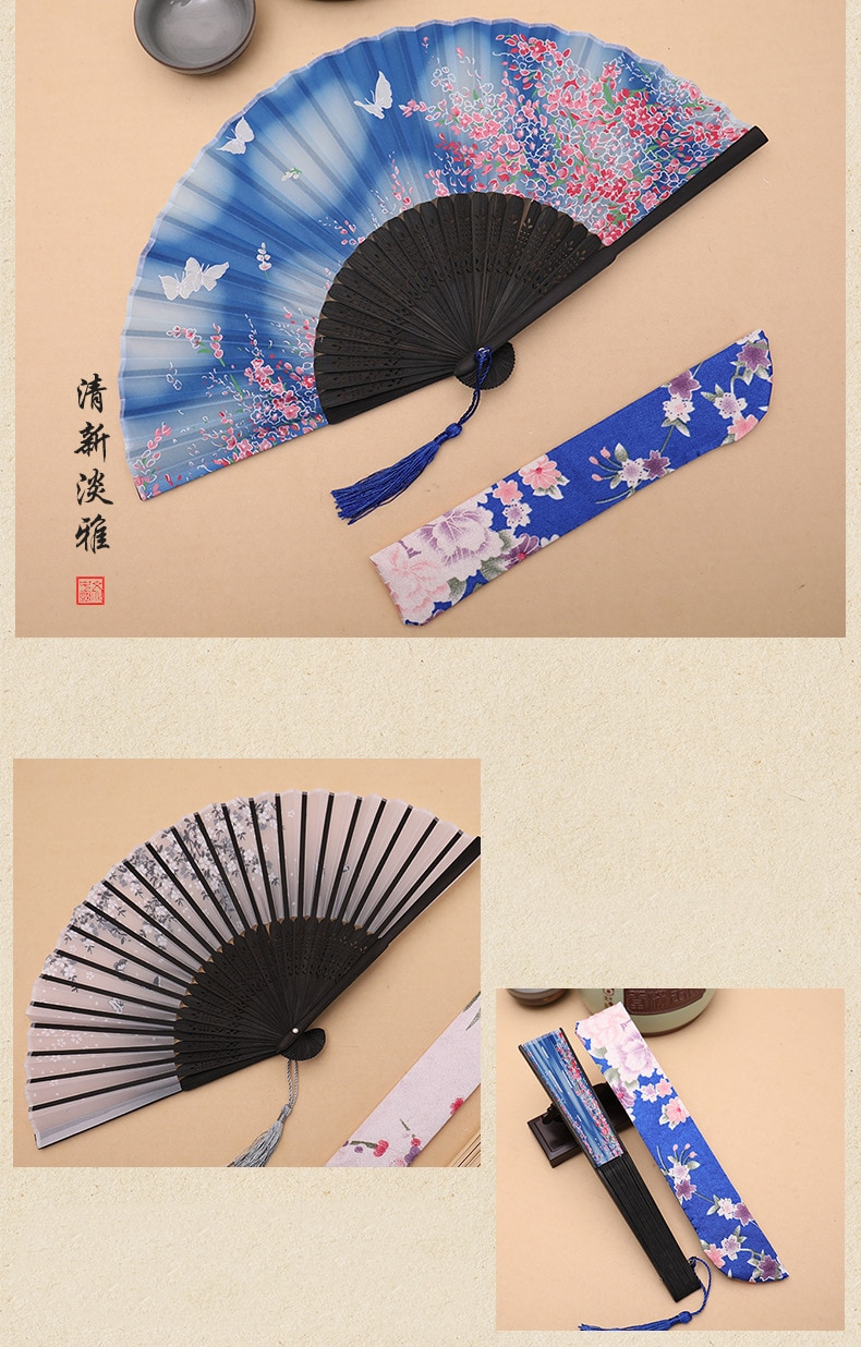 Summer Vintage Bamboo Pattern Folding Hand Held Flower Fan Chinese Dance Wedding Party Pocket Gifts Lace Silk Folding Fan  - buy with discount