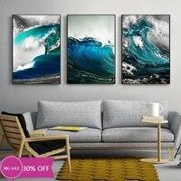 Toile de decoration de noel  affiche dart Mural  image bleue de vague docean pour decoration de salon  decoration de maison