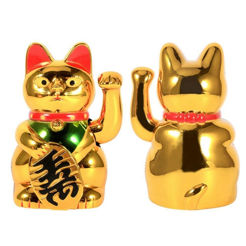 Accesorios de decoración para el hogar gato grande de oro que agita la mano del gato de la riqueza que da la bienvenida al gato de la buena suerte Feng Shui