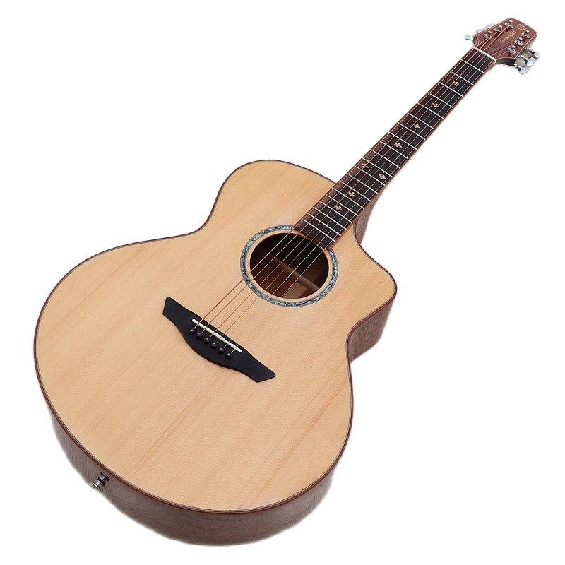 Full solid wood 40 inch acoustic guitar flower inlays fingerboard cutaway design 6 string folk guitar enlarge