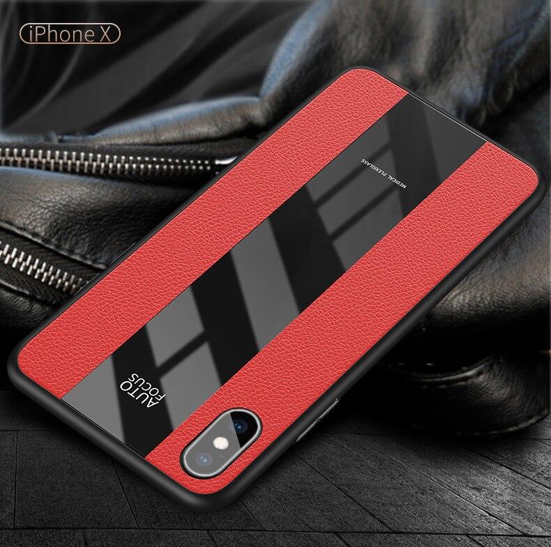 Plexiglas & PU-Funda de cuero para iPhone 11 Pro X XS MAX XR 6 6S 7 8 Plus, carcasa suave de TPU para Samsung S9 S10 Note9