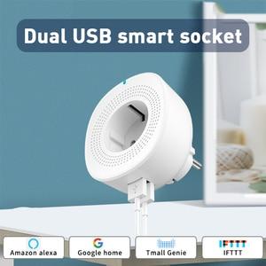WiFi Smart Socket EU Smart Plug Double USB Port Smart Life/Cloud Smart App Remote Control Works With Amazon Alexa /Google Home