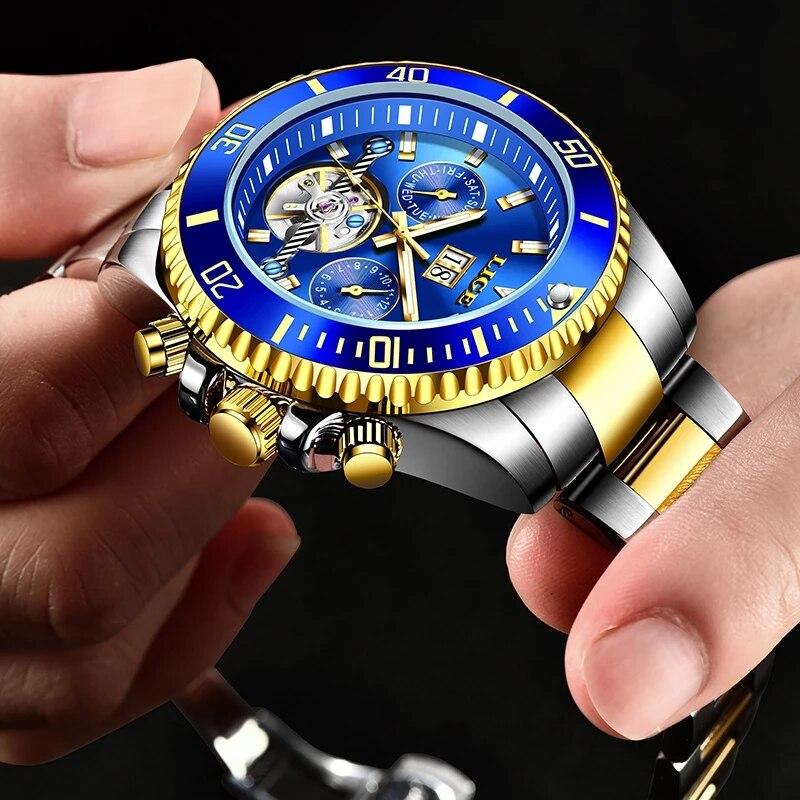 Topo de Luxo Todo o Aço à Prova Relógio de Pulso + Caixa Lige Moda Masculino Relógios Tourbillon Relógio Mecânico Ddate Água Data Semana 2021