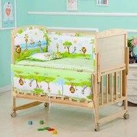 5pcsset baby crib bed bumper cartoon animal crib pads baby mattress pillow bed protector dec newborns infant crib bedding set