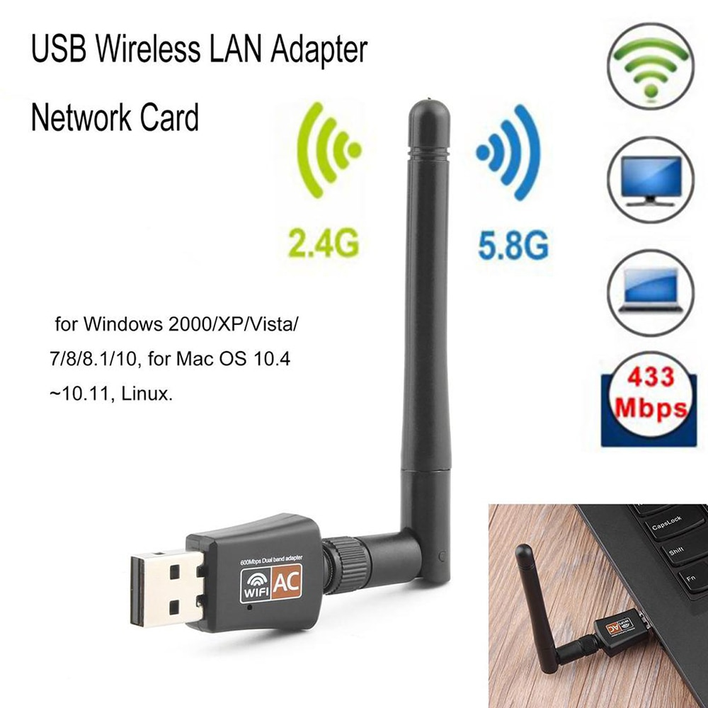 Dual-band wireless network card 600m 2.4g/5.8g wireless wifi receiver transmitter free drive wireless network card