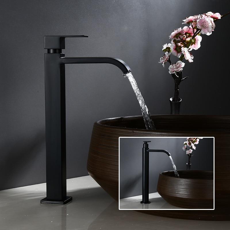 حوض صنبور واحد الباردة الحمام صنبور أسود مغسلة حوض الاستحمام صنبور طويل القامة 304 صنبور الفولاذ المقاوم للصدأ