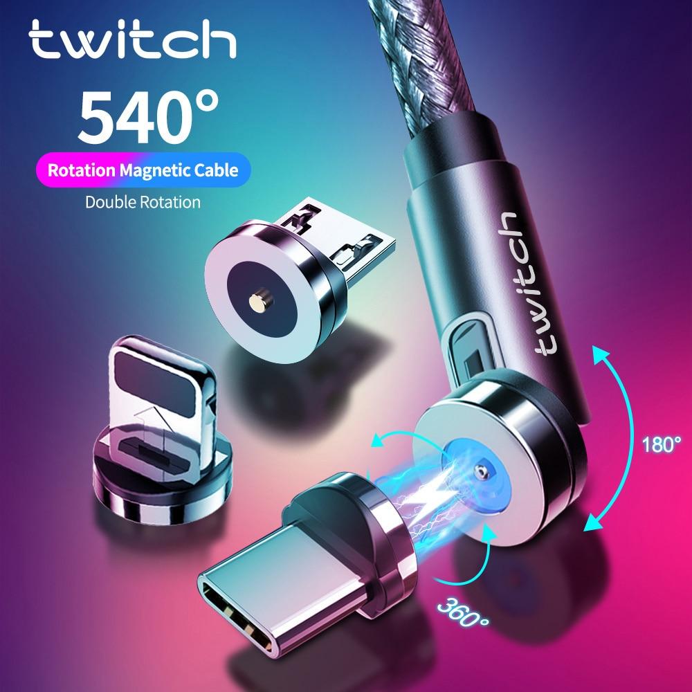 Twitch-Cable magnético 3 en 1 para móvil, Cable de carga rápida tipo...