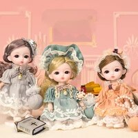 new exquisite 16cm bjd doll with clothes handbags cute hanfu princess dress fashion dolls dress up toys for girls gift diy 112