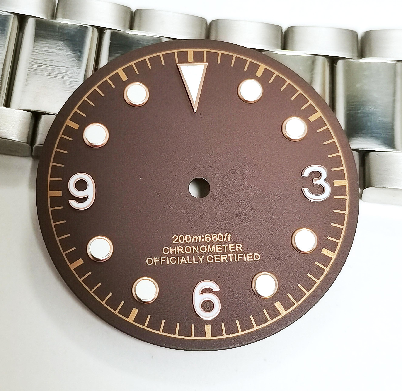 Novo Relógio Peças Dial Tem Verde Luminoso Ajuste Nh35 Movimento Automático 30mm