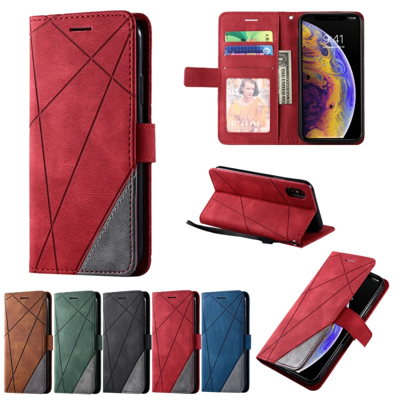 Leather Case Anti-fall Flip fold Solid color For iPhone 7 8 6s 6 Plus XS 11 12 Pro Max Xr X SE2020 W