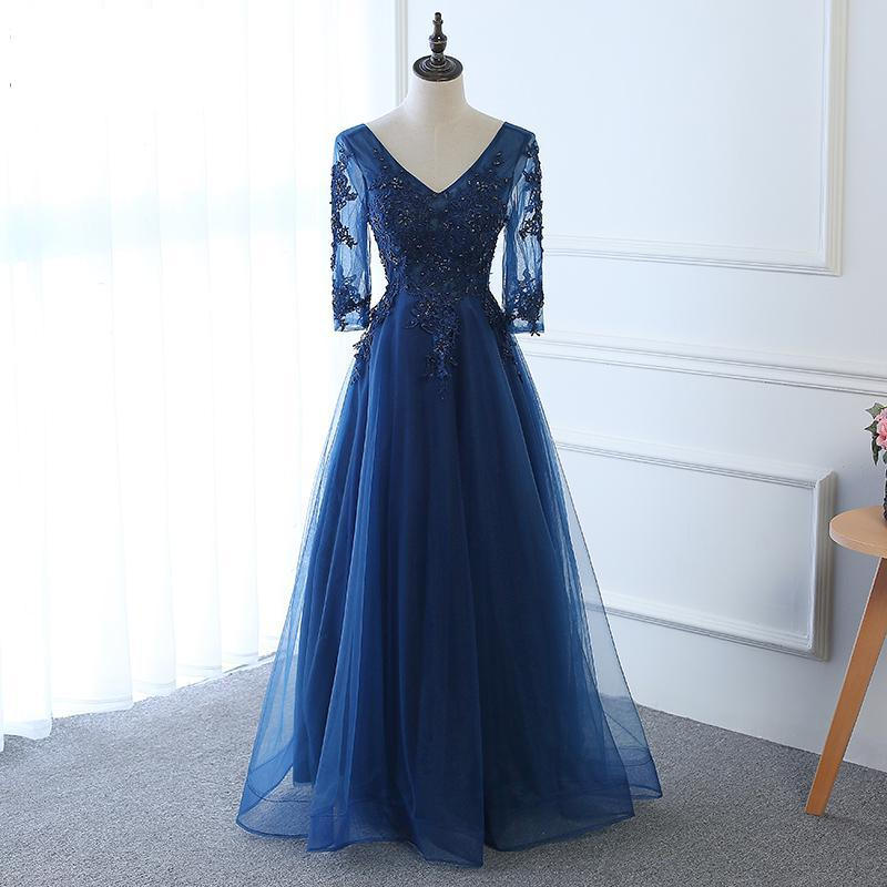 Hot Long Evening Dress Dark Blue Lace Embroidery 3/4 Sleeved Banquet Mother Of The Bride Dresses Rob