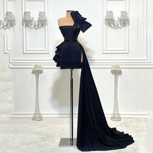 Unique Mini Prom Dress Strapless Sleeveless Ruffles Sequins Shiny Plus Size Women Special Occasion Sexy Party Cocktail Gowns