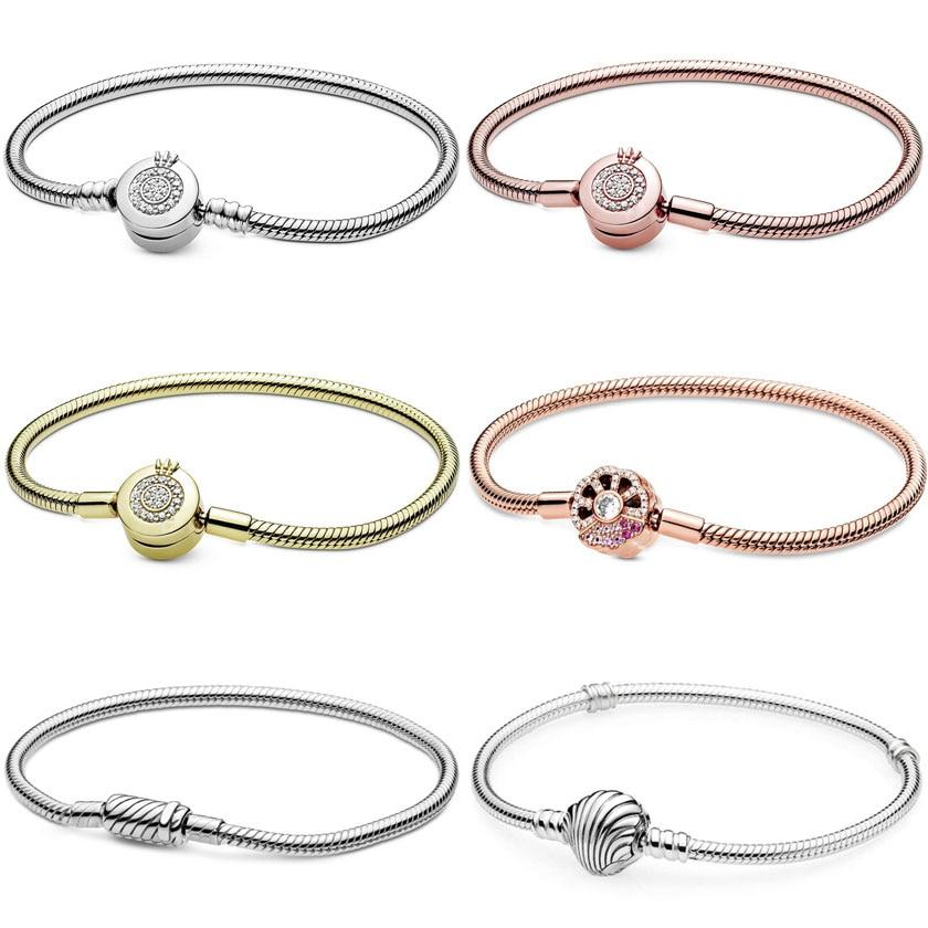 Jewelry Women 100% 925 Sterling Silver Bangle Fit Original Pandora DIY Feminino Charms Beadeds Accessories Beads Femme Bracelets