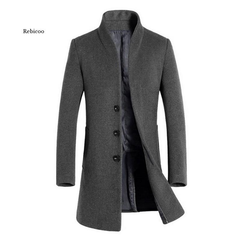 Abrigo Vintage cálido de invierno para Hombre, Gabardina con cuello levantado y...