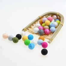 Baby Silicone Beads 15mm 100pc Baby DIY Beads BPA Free Silicone Teether Beads Baby Chewable Beads Nu