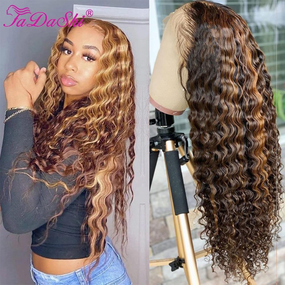 Highlight Wig Human Hair Curly Human Hair Wig T Part Deep Wave Frontal Wig Honey Blonde Highlight Hair Wigs For Women Human Hair