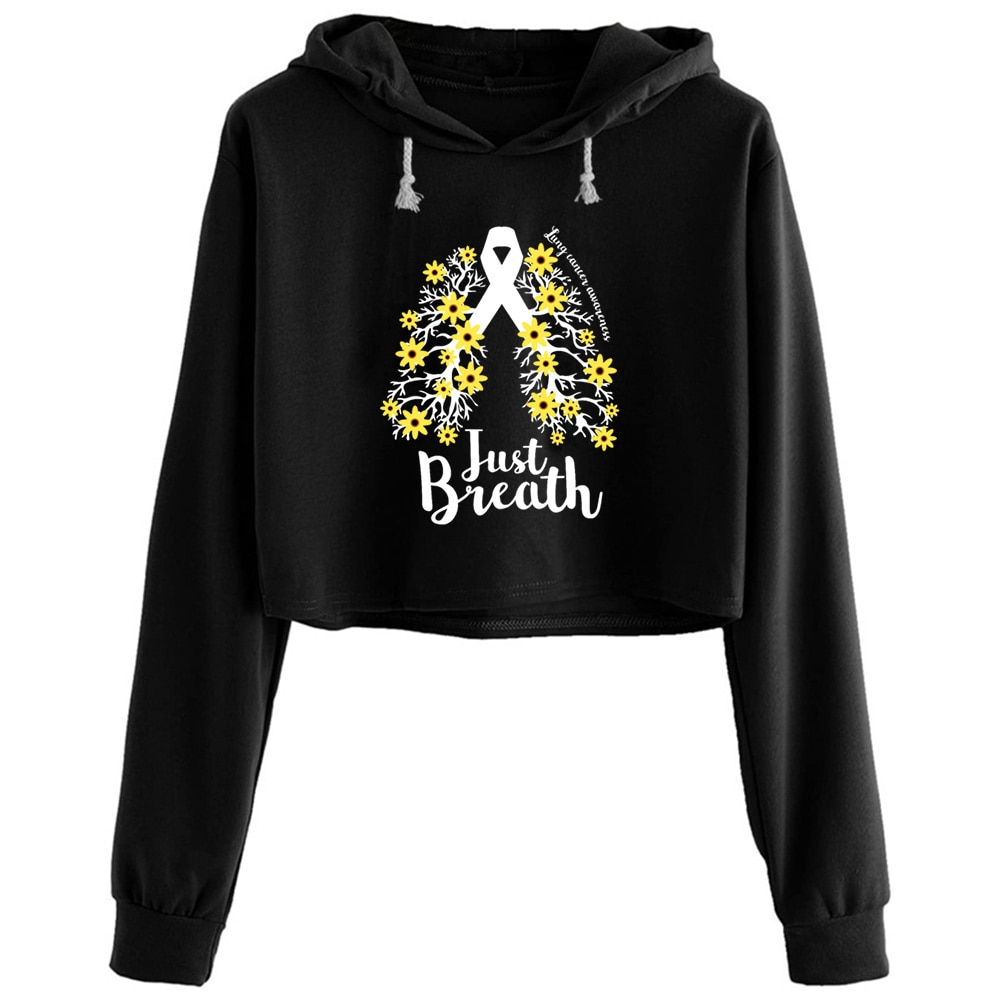 Just Breathe Lung Cancer Hoodies Women Y2k Kawaii Goth Grunge Pullover For Girls