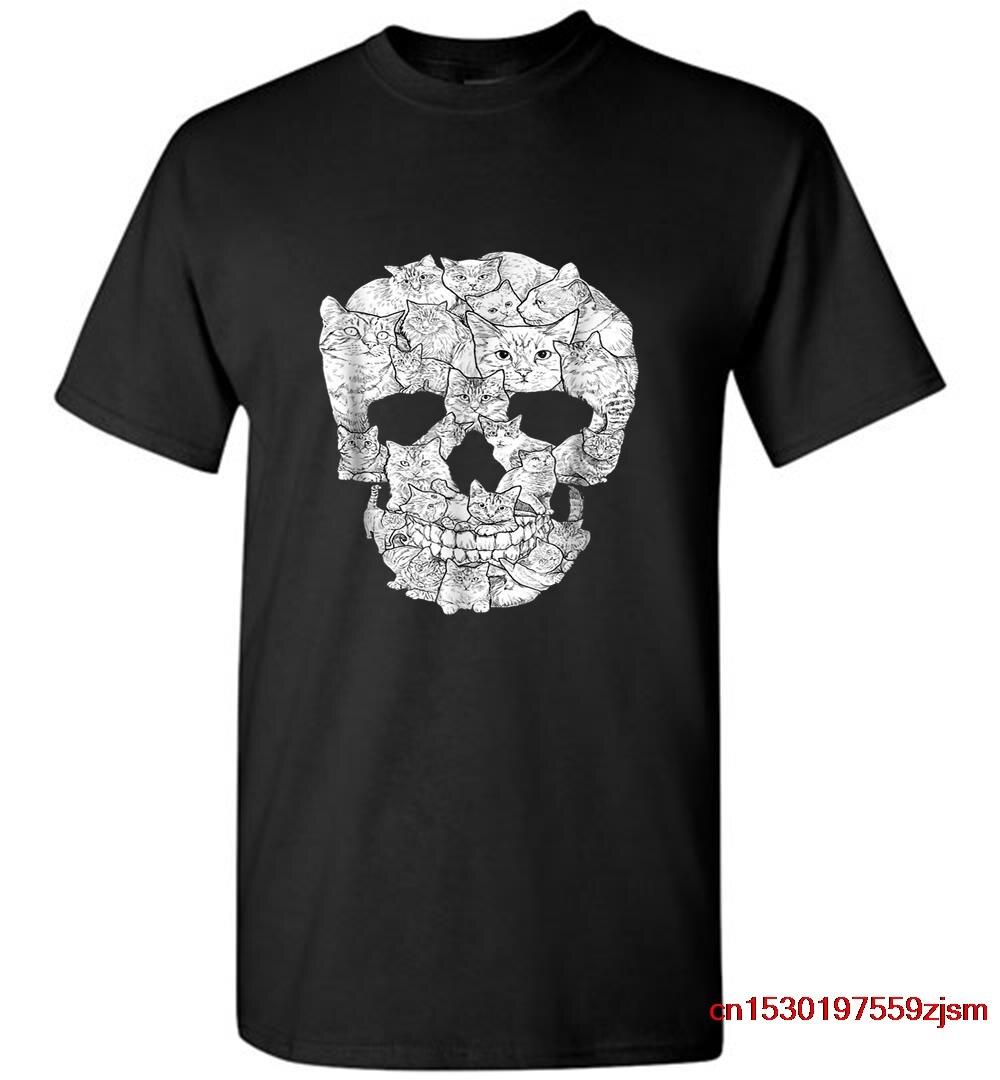 T-shirts gato crânio tshirt kitty esqueleto halloween traje ideia men