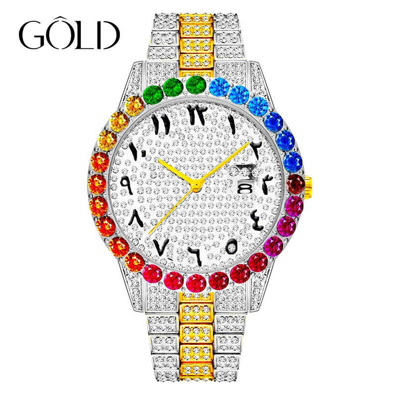 Top Brand Men's Watch Rainbow Diamond Quartz Gold Large Dial Rose Business watches