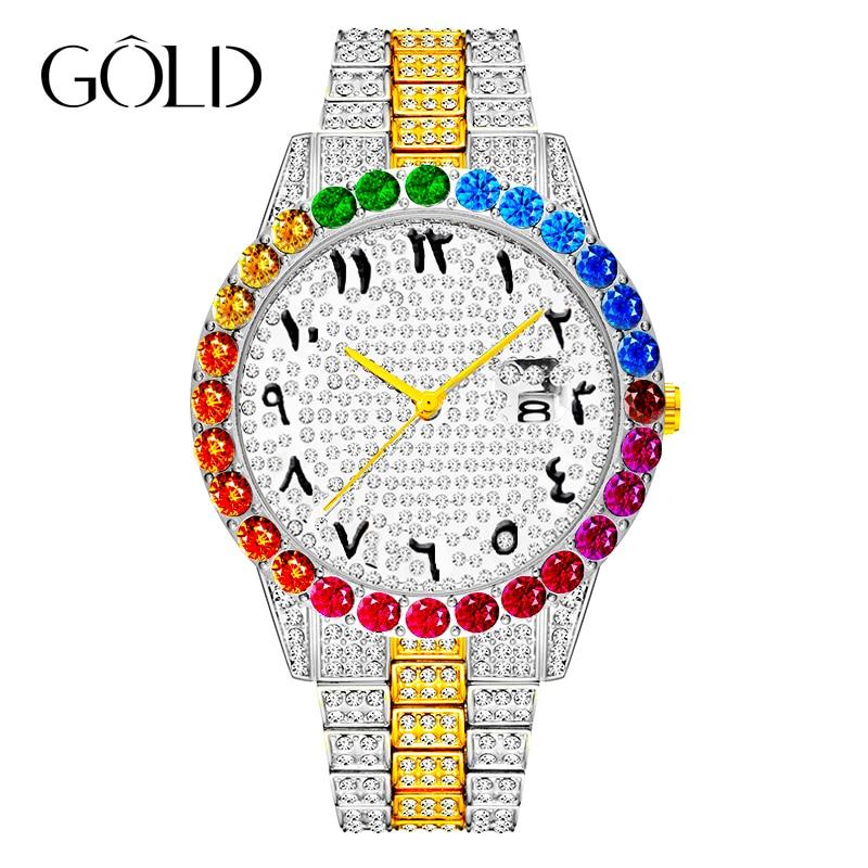 العلامة التجارية الأعلى ساعة رجالي قوس قزح الماس كوارتز الذهب كبير الهاتفي ساعات الأعمال