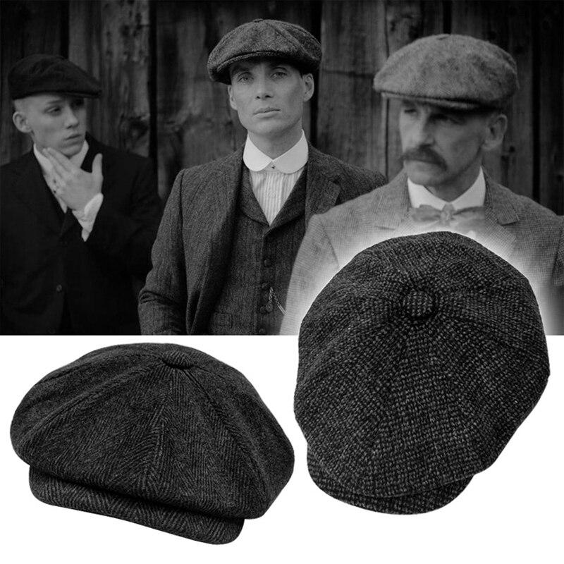 Tommy Shelby Peaky Blinders Hat Men's Winter Newsboy Hats Vintage Herringbone Octagon Cap Women Bere