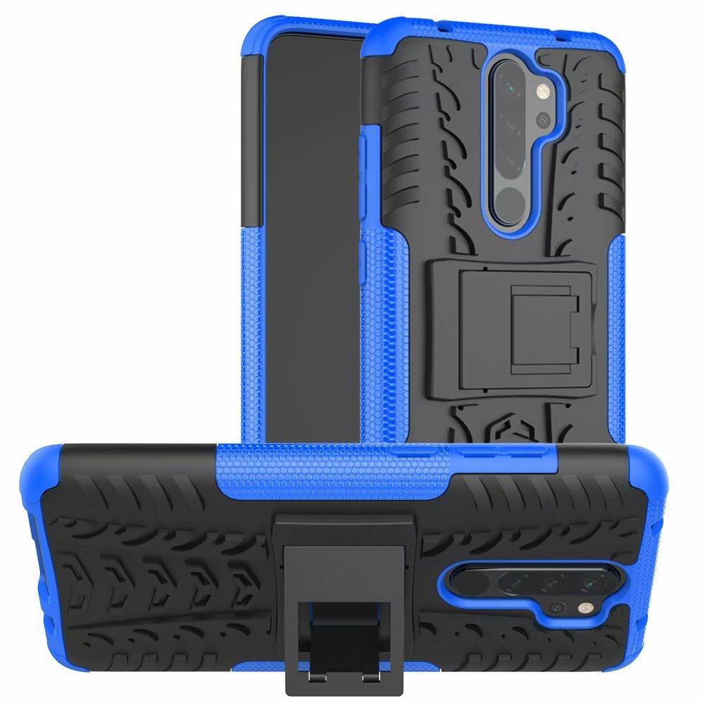 をxiaomi redmi注 8 プロケースカバースタンド頑丈な二層耐震ハードシリコーン電話ケース