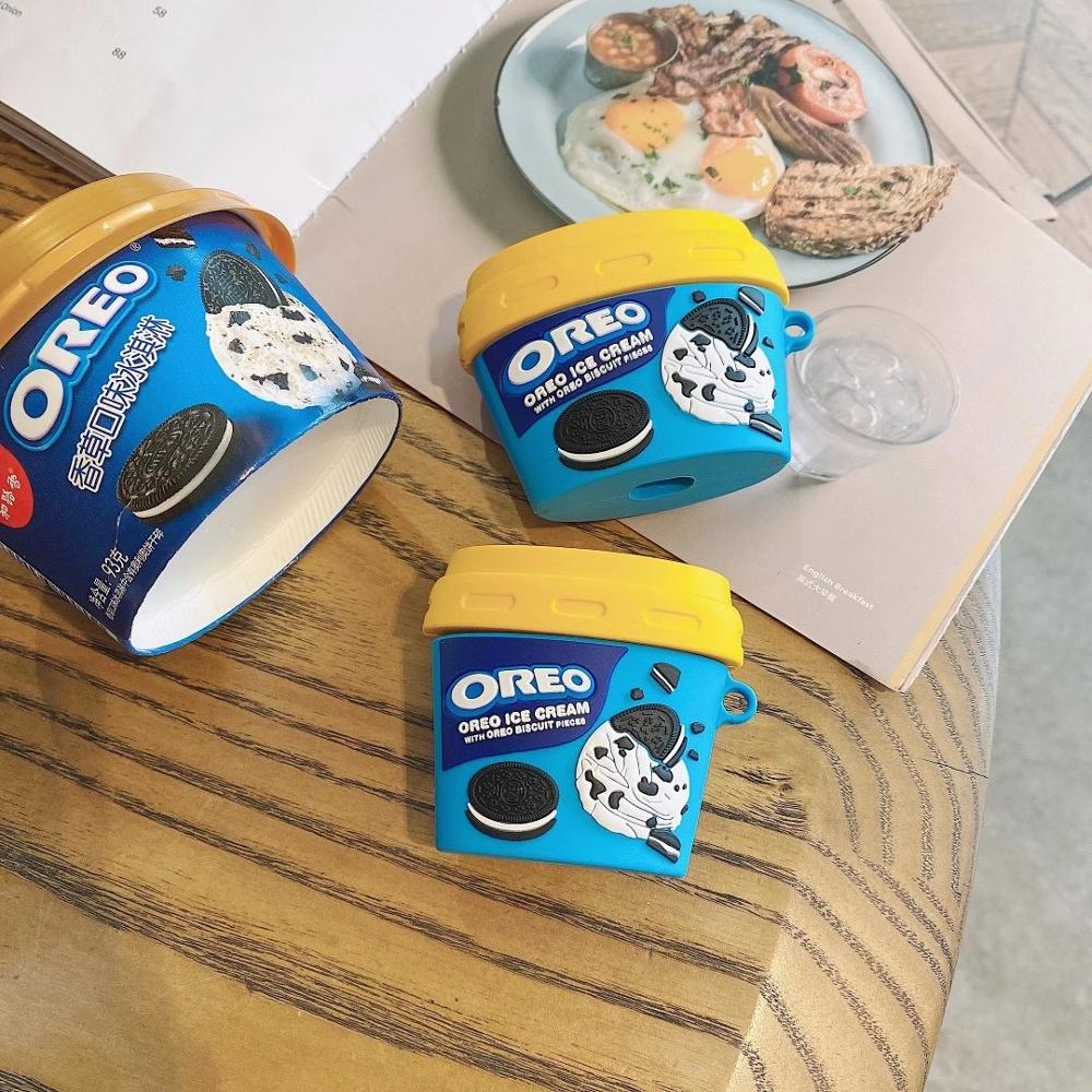 Oreo copo de sorvete 3d macio silicone caso para apple airpods pro caso de carregamento, airpods 1/2 bluetooth sem fio fone ouvido caso