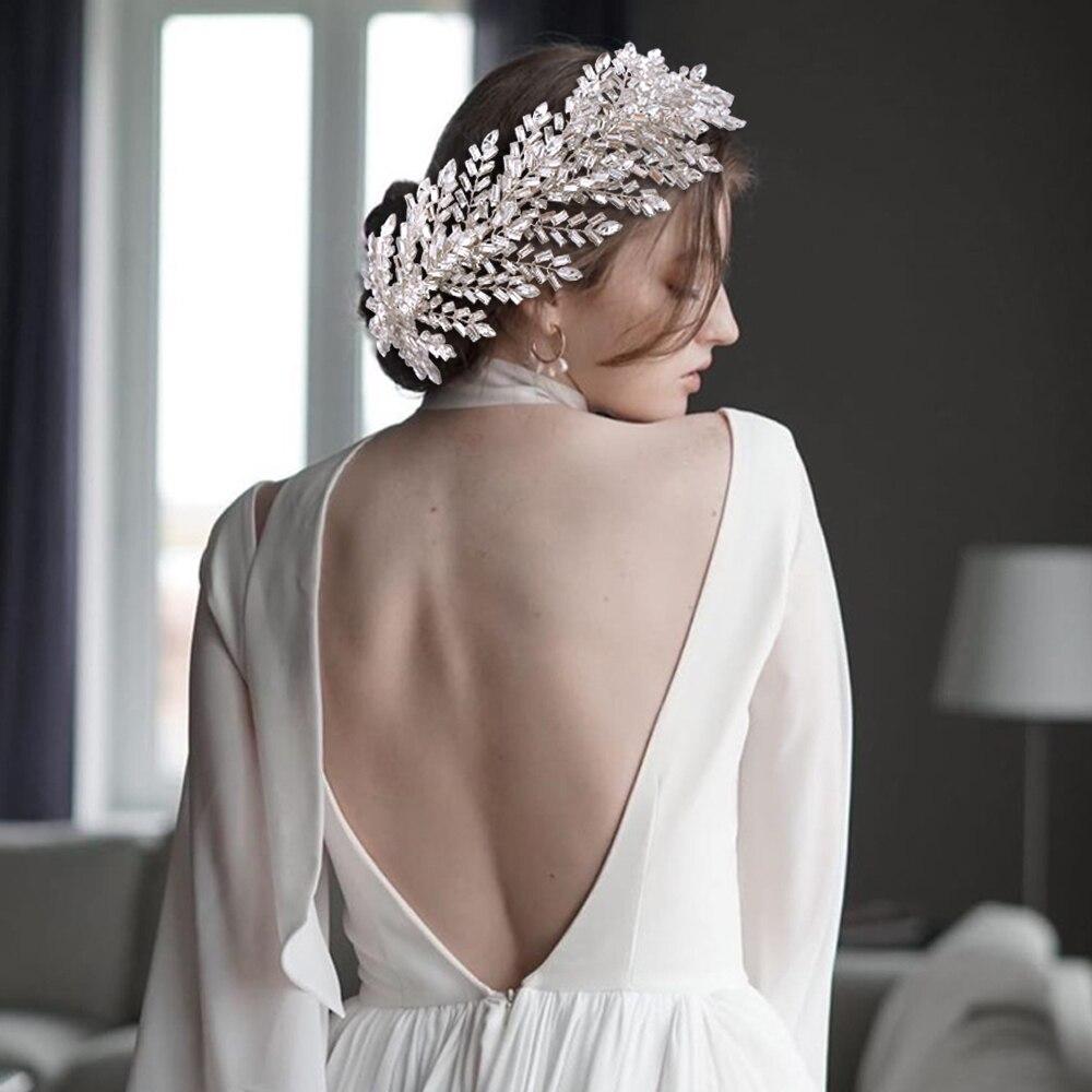 AMORARSI HP312 الكلاسيكية الأوروبية الزفاف إكسسوارات الشعر الزفاف أغطية الرأس النساء لامعة حجر الراين تيارا الإكليل العروس غطاء الرأس