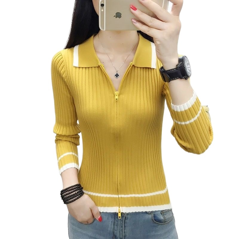 2021 new cardigan knit all-match slim polo collar long sleeve bottoming shirt with sweater women